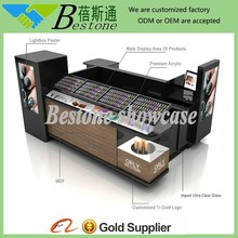 moddern black nail kiosk design for mall, manicure table nail bar wholesale