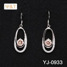 2016 Beautiful silver gemstone baguettes earring indian supplier studs real gold plated jewelry