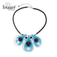 Blue acrylic flower pendant resin necklace bead black leather cord necklace women trendy summer jewelry NL13268