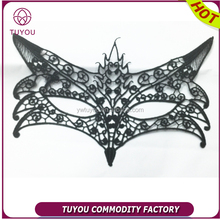 Black woven lace wolf mask party face mask