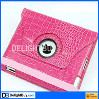 360 degree rotating Smart Cover case with artificial leather for iPad 2/3 (PINK)