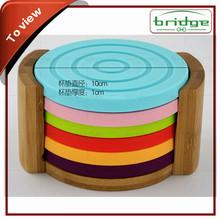 Natural Finish silicone&Bamboo Coaster Set