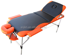 2014 hot sales 3 section folding aluminum massage table with color mixed
