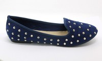 Blue Flat shoes With Studs and crystals, Shoes YJ150112611-BL