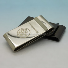 Fashional double sided nickel plated titanium money clip blank with laser engraved logo new design