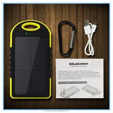 2015 Hot Selling power bank /Waterproof Solar Power Bank/ 5000mah Portable Solar Powerbank