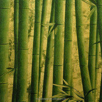 Bamboo design metallic golden wallpaper