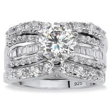 CZ Platinum over Silver Cubic Zirconia Wedding Ring Set women fashion silver big wedding ring set for gift