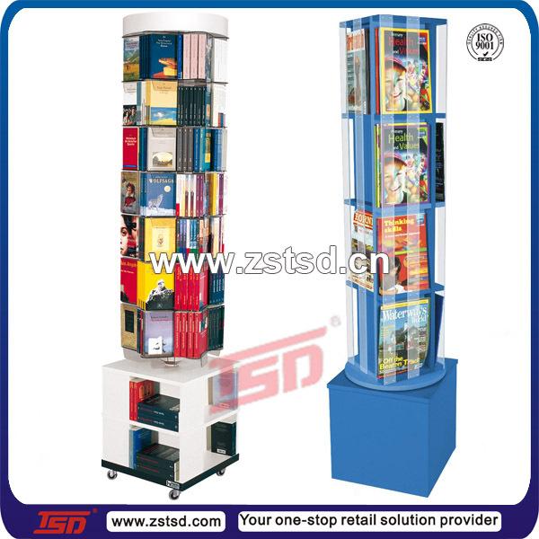 Tsdw40 Custom Floor Standing Rotating Mdf Wooden Magazine Display Fascinating Wooden Book Display Stand