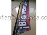 110g knitted polyester sublimation printing outdoor advertising beach flag,custom mesh feather banner with pole