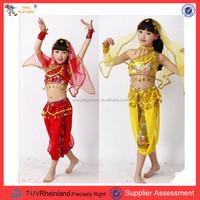 PGCC-1181 Best Dance children belly dance wear set indian dance costume wear for kids top, belt and skirt OEM