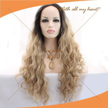 china wholesale market hot selling fashion dark roots blonde wavy hair cheap german synthetic hair wigs