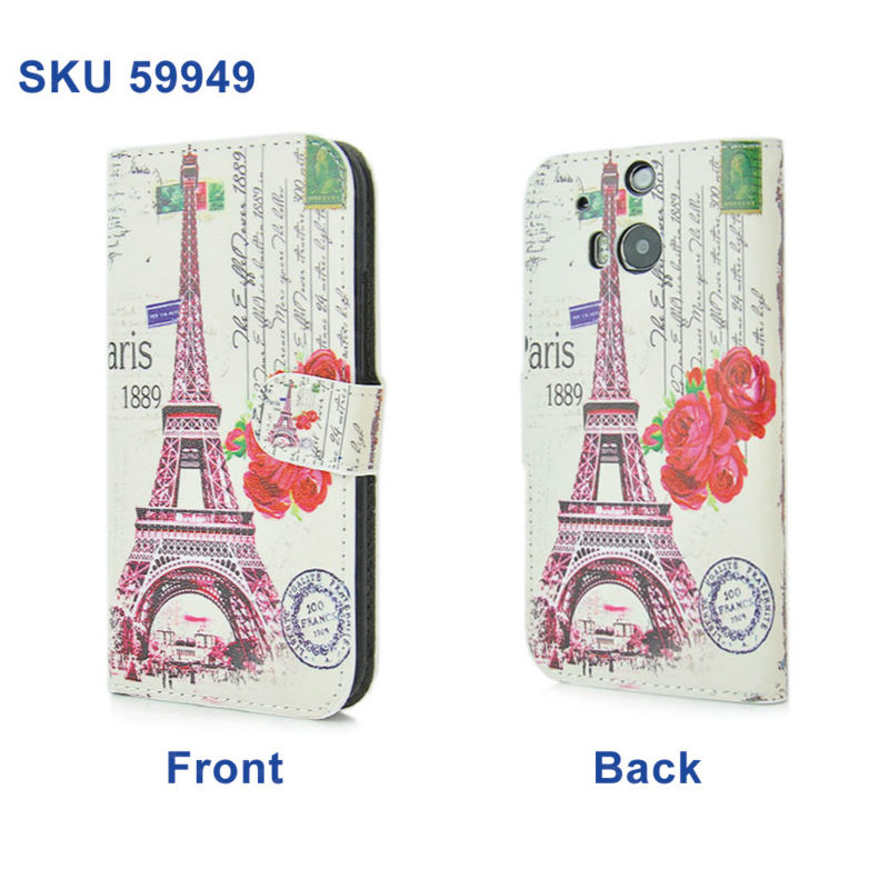 For HTC One M8 Mobile Phone Case, Fashion Paris Eiffel Tower La Tour Eiffel Wallet Case For HTC One M8