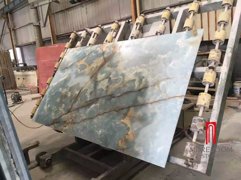 Onyx Stone Slabs : Hot sale natural polished blue onyx slab price