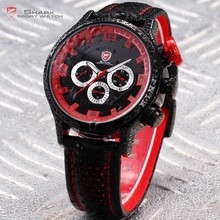 SHARK Date Day Display Stainless Steel Case Genuine Leather Strap Black Red Quartz Men's Sports Watch