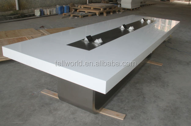 Con superficie de m rmol artificial sala de juntas de mesa for Mesa reuniones diseno