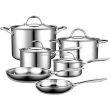 Tri-Ply Clad Construction Stainless Steel Pans and Pots/Cookware Pan For Induction Cooking