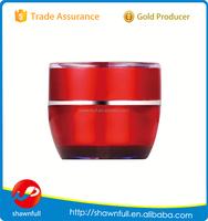 Acrylic high end 30g red plastic jars, PMMA facial cream jars 30ml