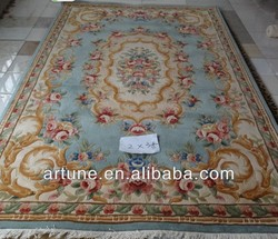 hand carved flower wool carpet and rug