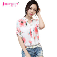 New KoreanStyle Chiffon Short Sleeve Blouse Plus Size Casual Women Floral Printed Shirt 2015 Summer New Arrival 2223