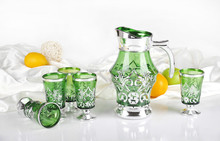 electroplated gold and silver design glass water jug set