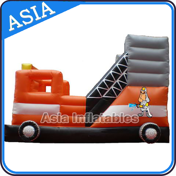 inflatable fire truck bouncer slide combo