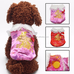 Phoenix Embroidered Pet Dog Chinese Costume Spangly Tang Suit for Winter
