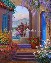 Handmade colorful garden of Mediterranean Landscape Oil Painting, beutiful flowers painting in garden for decoration on sale