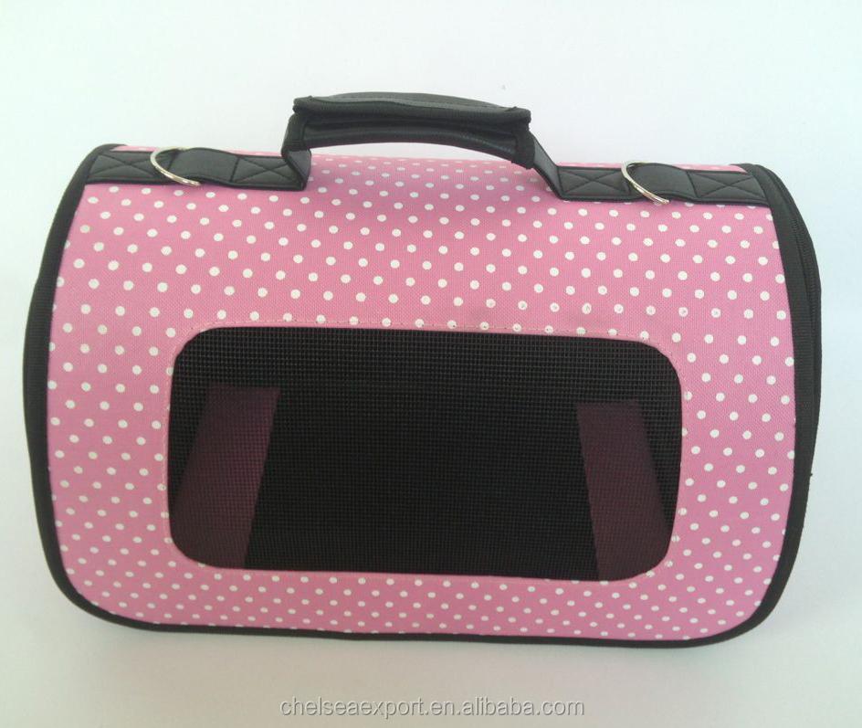 600d oxford impresión de punto rosa portador del perro para perros pequeños