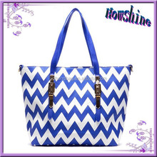 New Brand Design 2015 Zigzag Pattern Women Good Zipper Style Shopping Bag