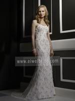S626 Sleeveless Sheath Sweep Train Wedding Dresses by Crystal Trade co. ltd