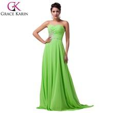 Grace Karin Strapless Green Mother Of The Groom Evening Dress Chiffon Long Evening dress CL4505-1