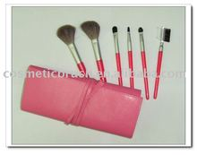6pcs travel cosmetic brush set with red pu pouch