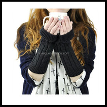 Fashion Knitting Half Finger with Cap Gloves