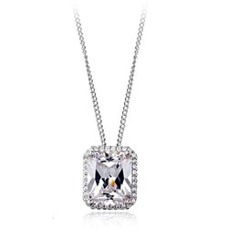 Luxury jewelry platinum plated square zircon pendant necklace with chain