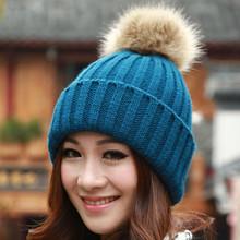 China wholesale new products beanie hat with rabbit fur pom pom