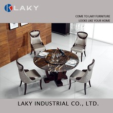 LK-DT1501 Black round natural marble dining table for dining room