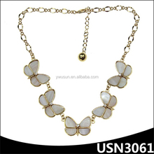 short statement gold chain white charm china company butterfly acrylic necklace