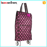 Garden Rolling Wheeled Shopping Tote Bag, Resuable Folding Shopping Bag with Wheels
