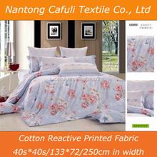 100% cotton reactive big flower printed wholesale quilt or duvet covers fabric