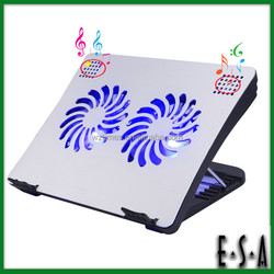 2015 Adjustable 2 fans laptop cooling,Multifunctional cooling pad with speakers,Laptop cooling pad with power supply G22A131