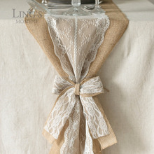 "6""x8"" Pre-Tied Rustic Burlap Wedding Bows With White Lace Trim Tape Wedding Chair Jute Bow Decorations"