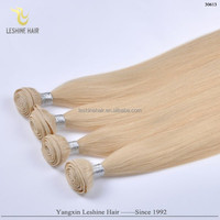 Wholesale Price Private Label Top Quality No Shedding No Tangle No Dry blonde human hair sew in weave