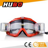 HUBO customer design motocross goggles roll off motorcycle glasses