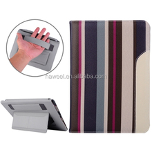 Hot wholesale Stripes Pattern Smart Cover Leather Case with Holder & Card Slots & Hand Strap for iPad Air 2