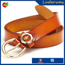 Newly fashion design woman metal 100% cowhide genuine leather belt with high quality