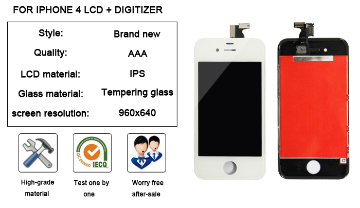 mobile phone spare parts lcd touch screen digitize for iphone 4