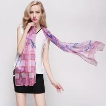 elegant 100% silk flower scarves shawls