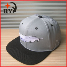China supplier custom feather embroidery grey cotton hat