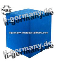 Cube Stool blue microfiber square exclusive ottoman